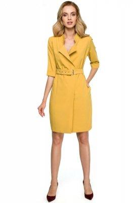 S120 Sukienka żakietowa z paskiem - żółta