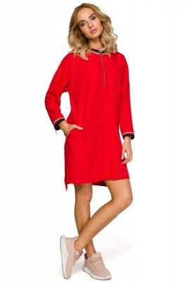 M402 Sukienka z zamkami - czerwona
