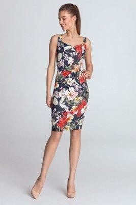 Sukienka z dekoltem w kształcie serca - kwiaty/granat - S118