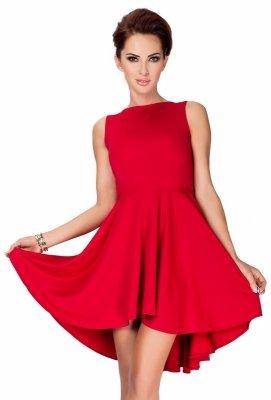 33-2 Lacosta - Ekskluzywna sukienka z dłuższym tyłem - Czerwony