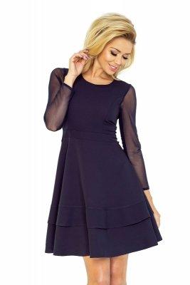 141-1 Sukienka z TIULOWYMI rękawkami - GRANATOWA