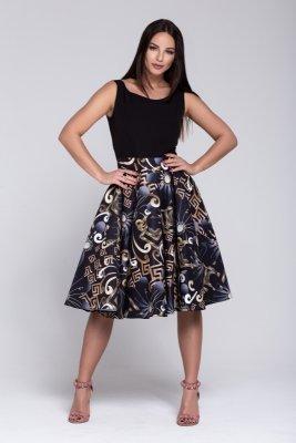 Sukienka z gładką górą oraz rozkloszowanym wzorzystym dołem