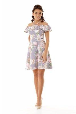 Monochromatyczna sukienka o lekko układającym się,trapezowym dole i hiszpańskim dekolcie z troczkiem