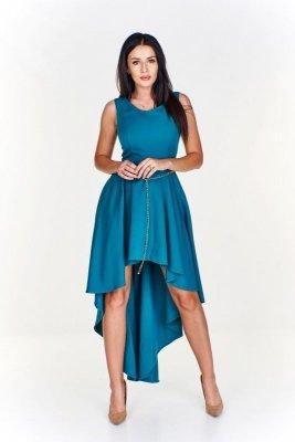 Sukienka z asymetrycznym dołem krótszym z przodu i dłuższym tyłem a'la tren