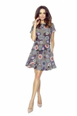 Wzorzysta sukienka z lekko rozkloszowanym dołem wykończonym subtelną falbaną