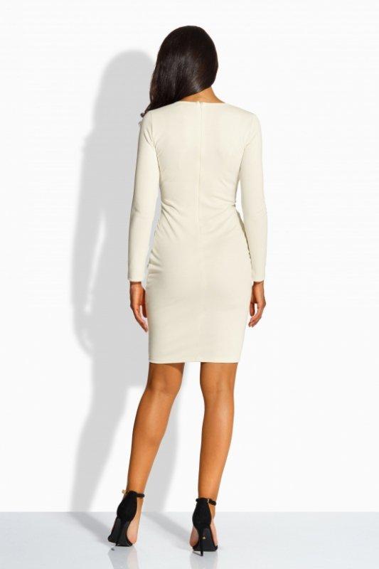 L219 sukienka z zakładką w talii beżowy