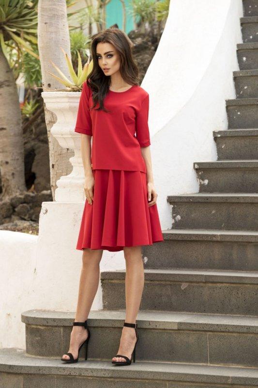 Komplet z rozkloszowaną spódnicą L237 czerwony