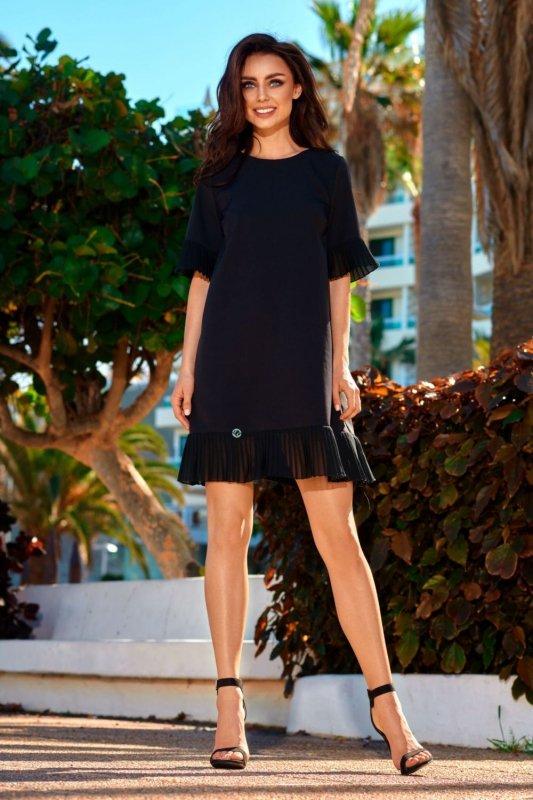 Sukienka z falbanką L243 czarny