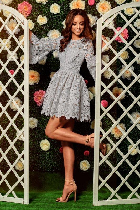 Romantyczna sukienka z koronki L262 jasnoszary