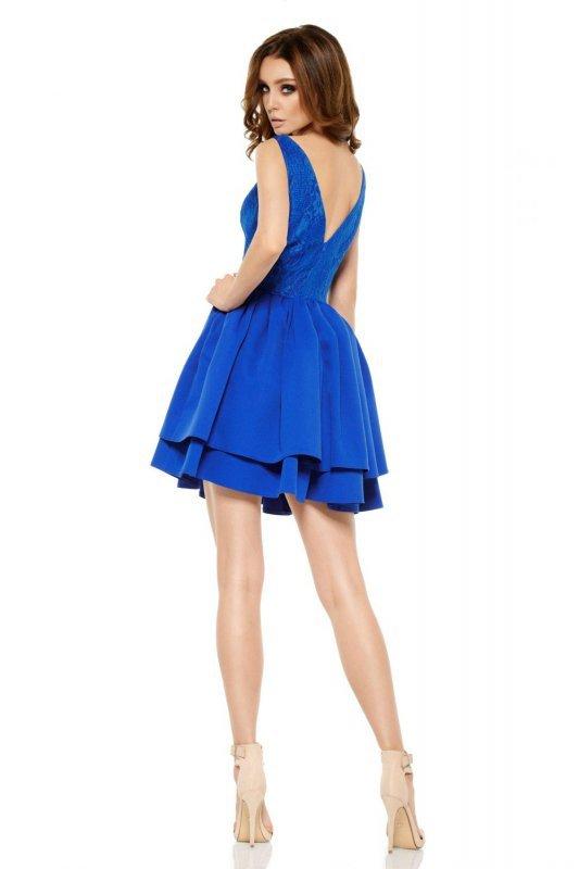 Wieczorowa sukienka mini z koronką  L260 chaber