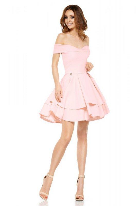 Zjawiskowa sukienka bardotka L258 pudrowy róż