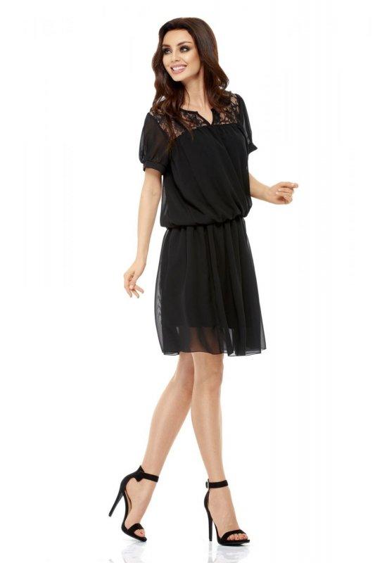 Letnia szyfonowa sukienka z krótkim rękawem L241 czarny