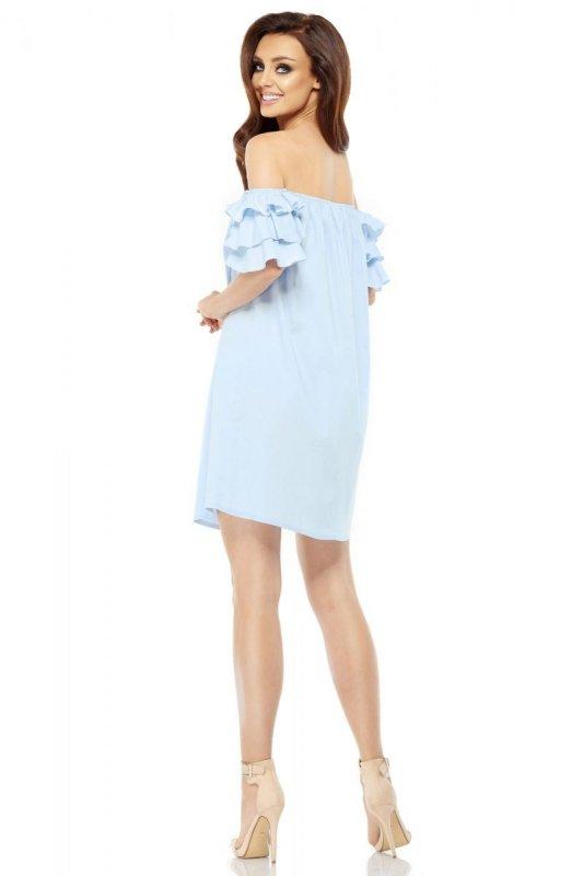 Idealna sukienka bez ramion  L252 błękitny