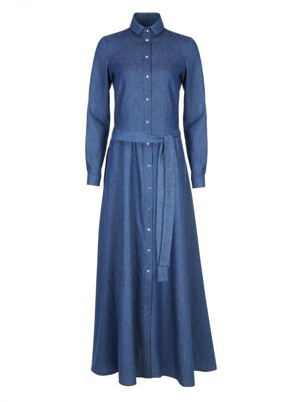 Sukienka maxi z długim rękawem - jeans - S93 koszulowa