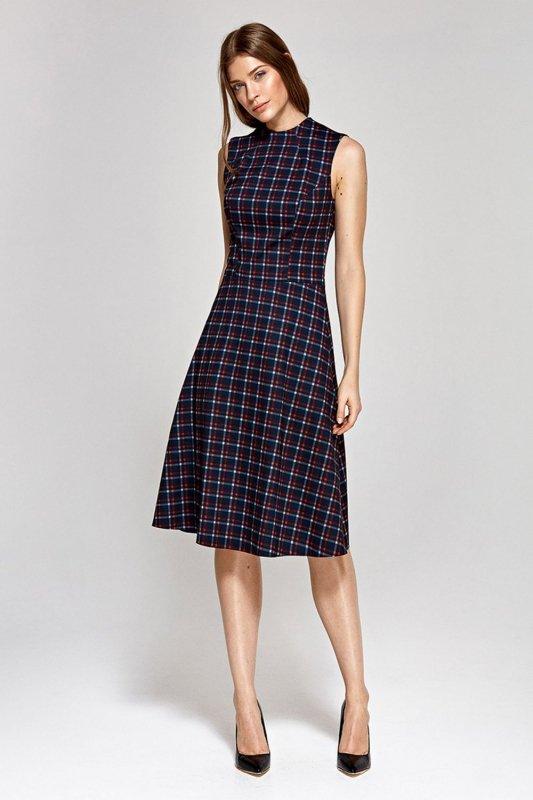 Sukienka pod szyję - krata - CS10
