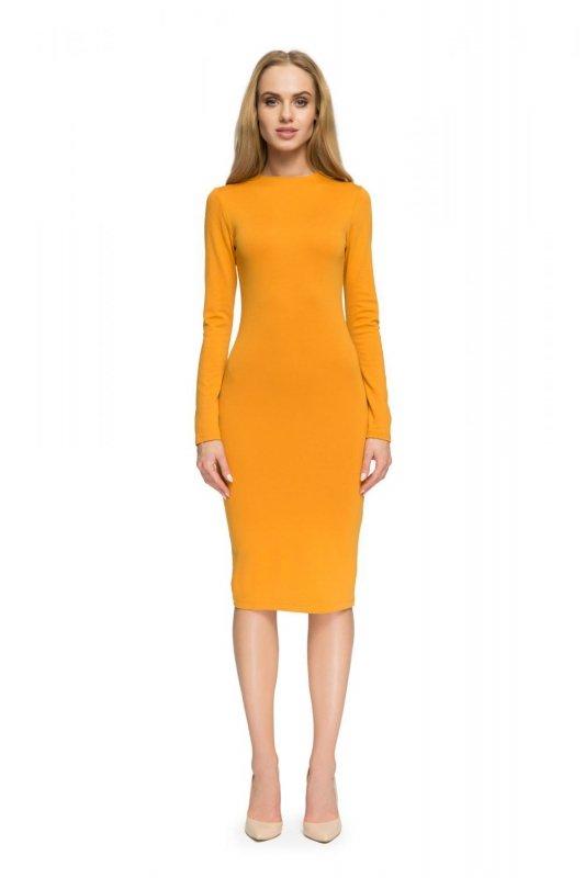 S033 Sukienka ołówkowa - miodowa