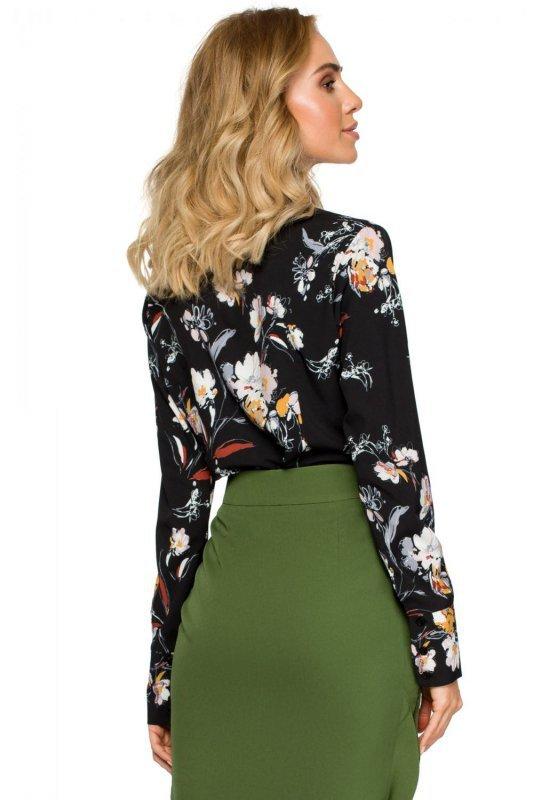 79cf8c808a42 M408 Bluzka koszulowa w kwiaty - czarna - Bluzy Bluzki - Moda Damska