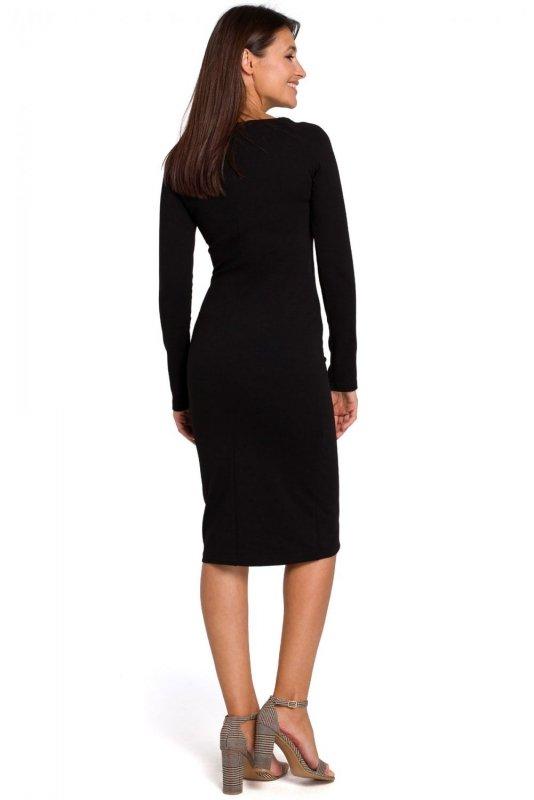 473eb75d49 S152 Sukienka ołówkowa z szerokim dekoltem - czarna - Sukienki ...
