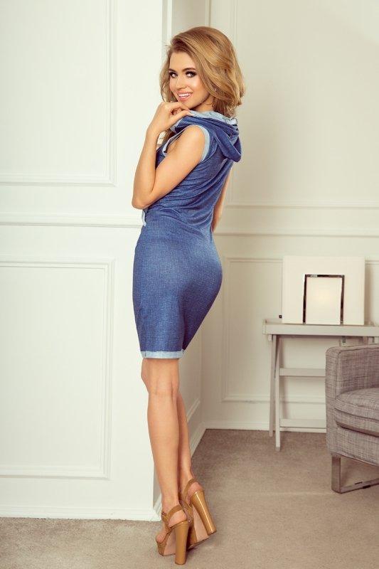 202-1 Sukienka z kieszenią i kapturem - kangurka - JEANS jasny niebieski