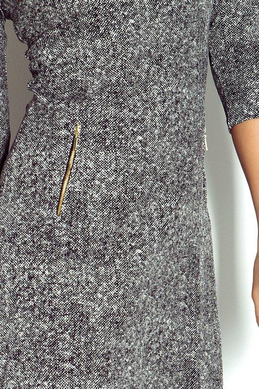 38-15 Sukienka z zamkami - pieprz i sól