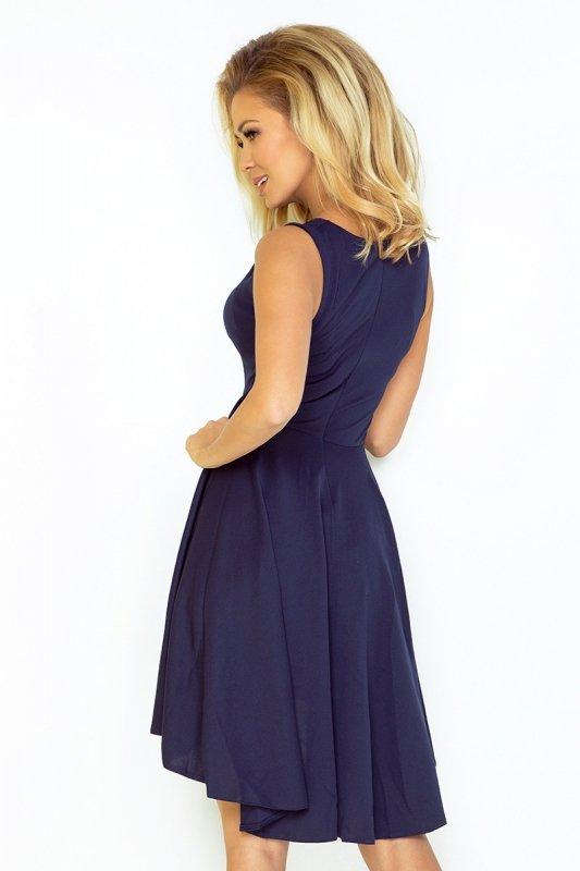 33-3 Ekskluzywna sukienka z dłuższym tyłem - GRANATOWA