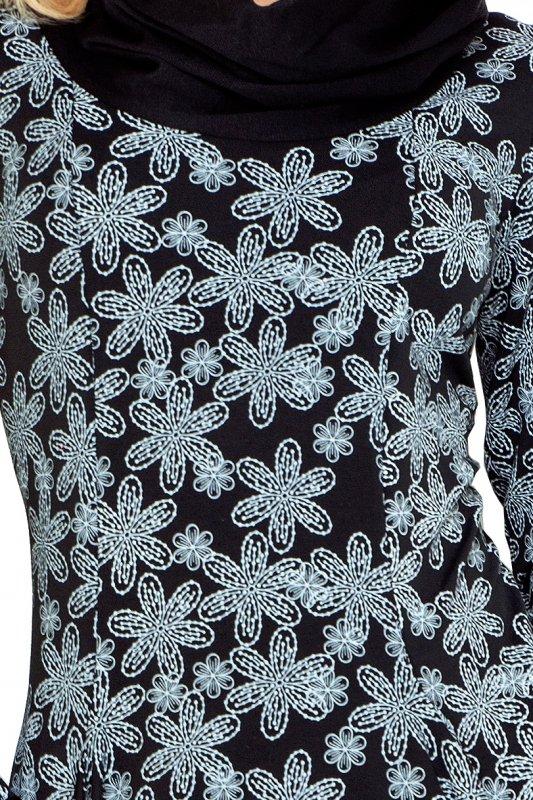 135-3 Golf - sukienka z dużymi kieszeniami - wzór WANILIA Czarna
