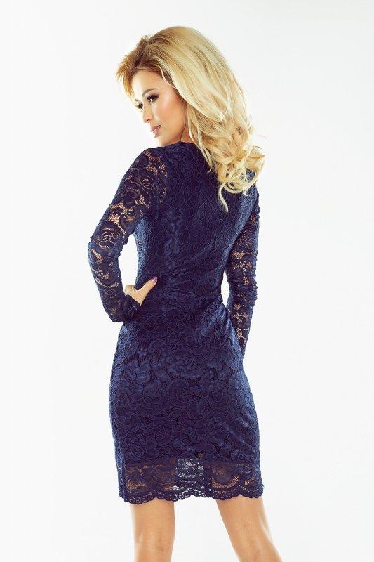 170-2 Sukienka koronkowa z długim rękawkiem i DEKOLTEM - GRANATOWA