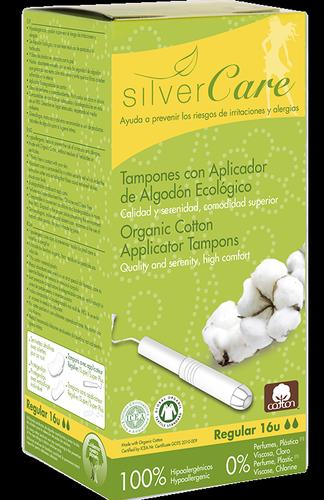 Masmi SILVER CARE tampony ze 100% bawełny organicznej REGULAR z aplikatorem, 16 sztuk