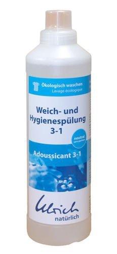 Ulrich Natürlich płyn do płukania tkanin 3w1 o działaniu zmiękczającym, odkamieniającym wodę i antybakteryjnym bezzapachowy 1 l