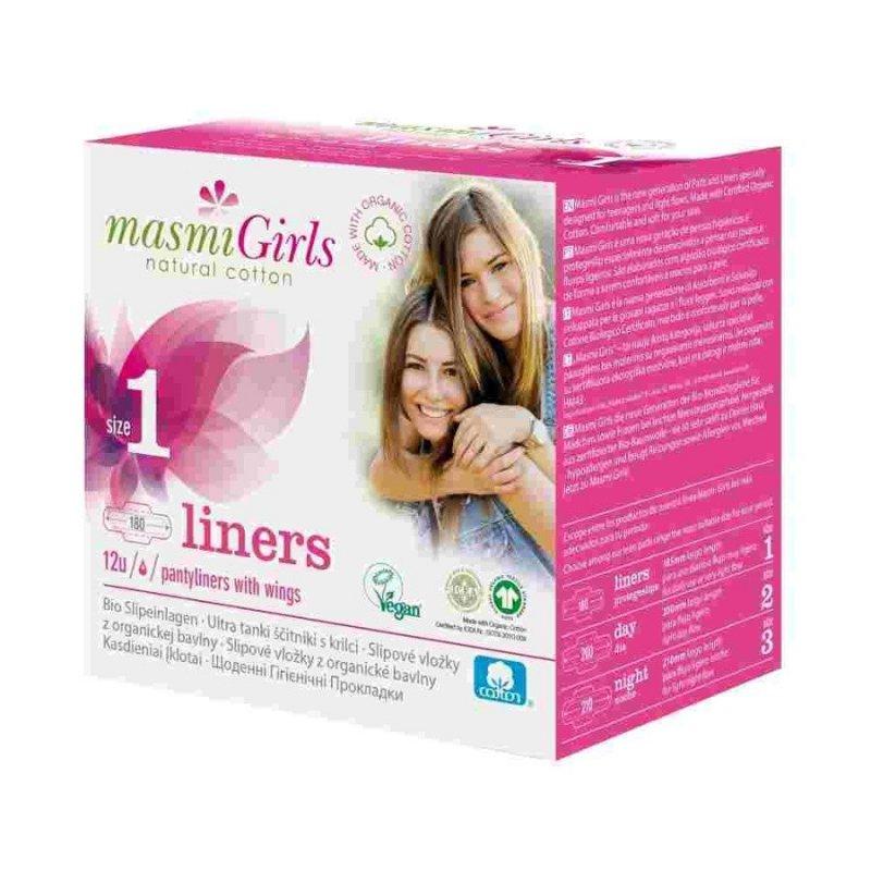 Masmi Girls Ekologiczne wkładki higieniczne ze skrzydełkami dla nastolatek 12 szt.