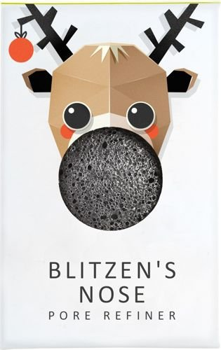 Gąbka Konjac MINI Renifer Blitzen Błyskawica z czarnym węglem bambusowym do cery tłustej i problematycznej