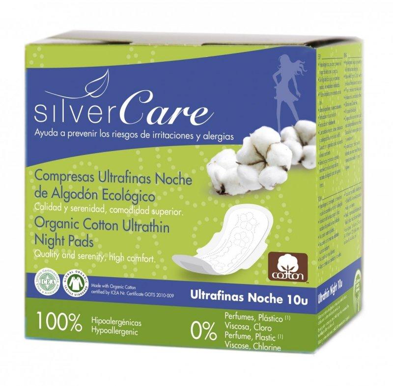 Masmi Silver Care Ultracienkie bawełniane podpaski na noc ze skrzydełkami -100% bawełny organicznej