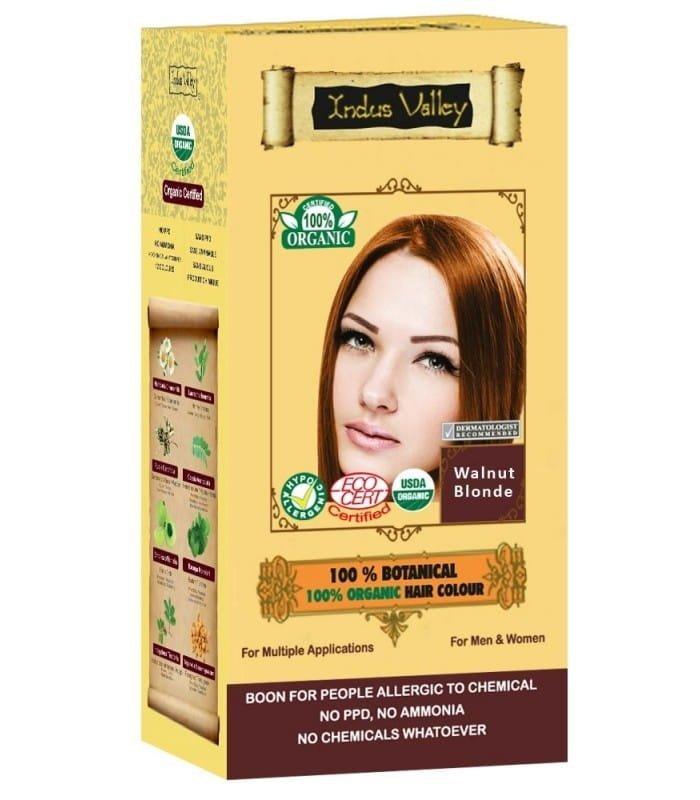 Indus Valley Ziołowa farba do włosów z henną Orzechowy Blond 120 g