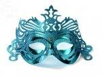 Maska Party z ornamentem  - turkusowa 1szt