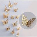 Motylki dekoracyjne 3D 12 szt złote metaliczne