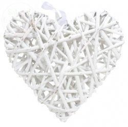 Serce ratanowe pełne białe 23 x 25 cm