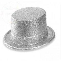 Cylinder  srebrny z brokatem  12 cm - 1szt