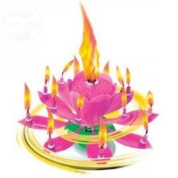 Świeczka grająco wirująca różowa melodia happy...