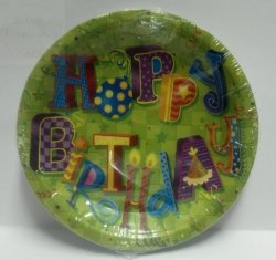 Talerzyki papierowe 18 cm Happy Birthday 6szt