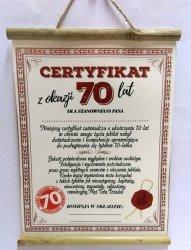 Dyplom bambus Certyfikat z Okazji 70 lat dla Pana