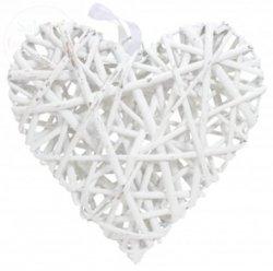 Serce ratanowe pełne białe 29 x 30 cm