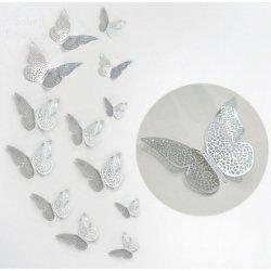 Motylki dekoracyjne 3D 12 szt  srebrne metaliczne
