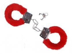 Kajdanki czerwone z futerkiem 1op KJD007