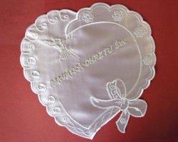 Szatka serce z kokardą białe + srebro