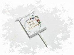 Lizak podziękowanie - Chrzest z białą kokardką