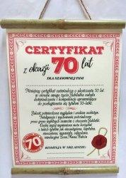 Dyplom bambus Certyfikat z Okazji 70 lat dla Pani