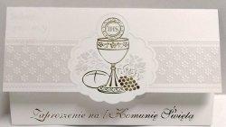 Zaproszenie na I Komunię Świętą - srebrny ornament
