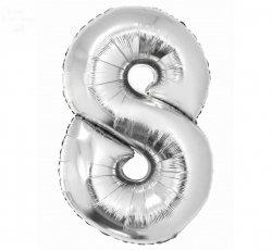 Balon foliowy srebrna Cyfra 8  85 cm
