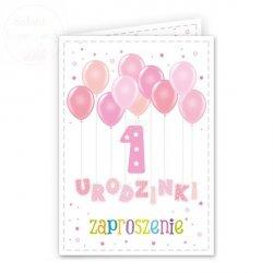 Zaproszenie na 1 urodziny  Balonki różowe  1szt