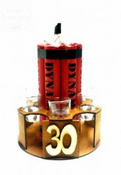 Stojak dynamit z kieliszkami na 30-te urodziny